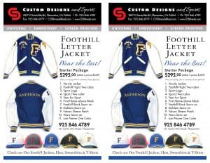 Foothill High School varsity jackets flyer