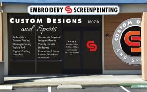 Custom Designs and Sports storefront